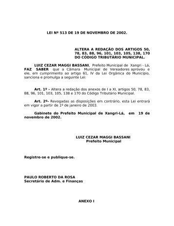 Código Tributário Municipal - Xangri-lá