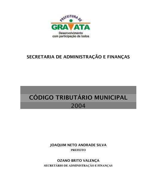 8767c8ce6e2b código tributário municipal 2004 - Prefeitura Municipal de Gravatá