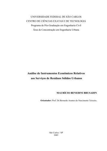 Analise de instrumentos econômicos relativos aos serviços de