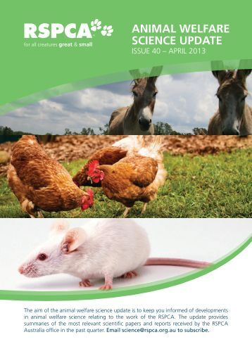 ANIMAL WELFARE SCIENCE UPDATE