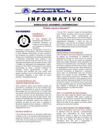 Boletim Informativo – Novembro/Dezembro – 2007 - Sobre o Hospital