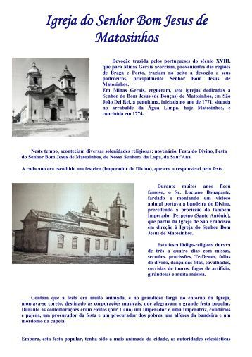 Igreja do Senhor Bom Jesus de Matosinhos - Instituto Apoiar