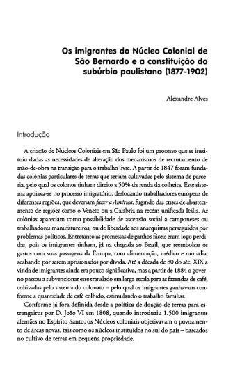 Os imigrantes do nucleo colonial de Sao ... - Diversitas - USP