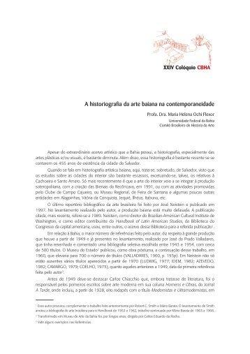 A historiografia da arte baiana na contemporaneidade - CBHA