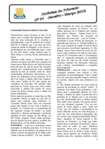 2012 Janeiro-Março Notícias do Priorado No. 1
