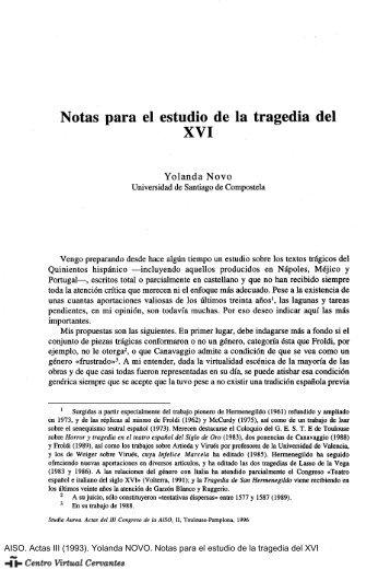 Notas para el estudio de la tragedia del XVI - Centro Virtual Cervantes