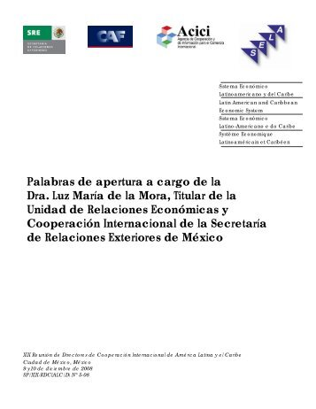 Palabras de apertura a cargo de la Dra. Luz María de la Mora ... - Sela