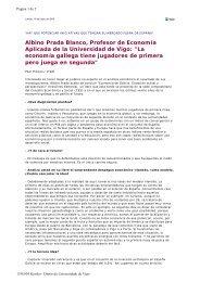 Albino Prada Blanco, Profesor de Economía Aplicada de - Duvi ...