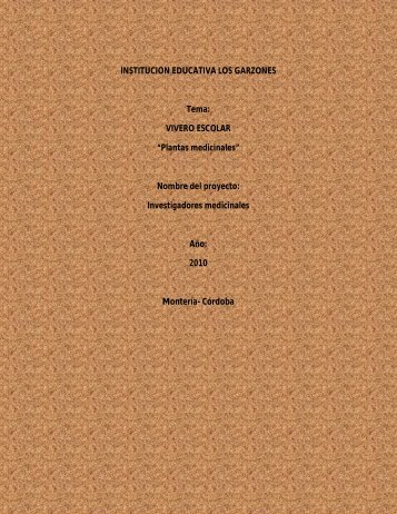 """VIVERO ESCOLAR """"Plantas medicinales"""" - naturagarzones2011"""