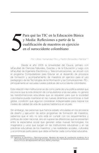 5Para qué las TIC en la Educación Básica y Media ... - ieRed