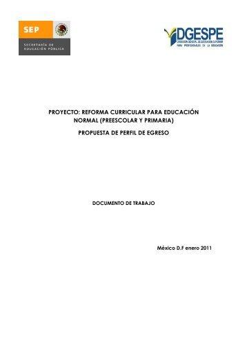 proyecto: reforma curricular para educación normal - dgespe