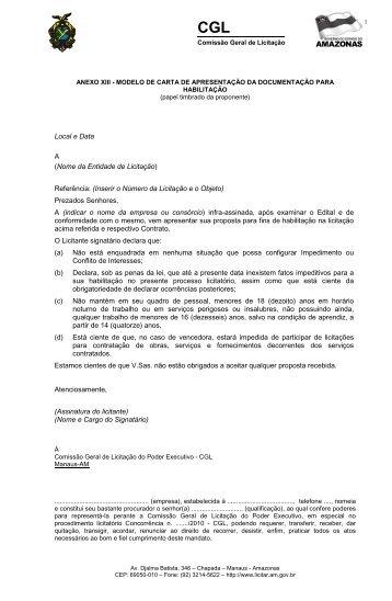 Anexo XIII – Modelo Carta de Apresentação - Fiscaliza Copa 2014 ...