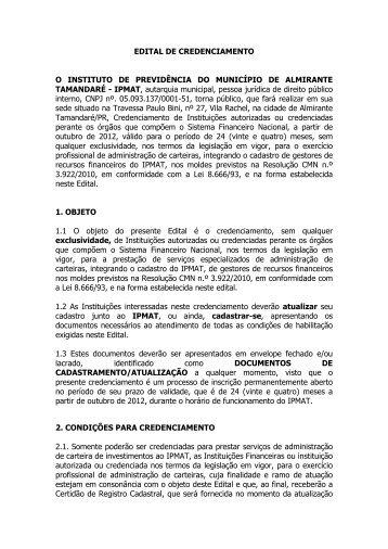 Edital de Credenciamento 2012 - IPMAT