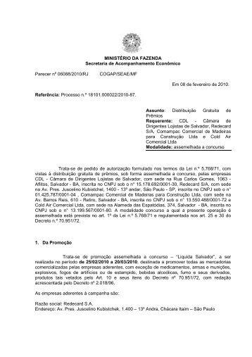 MINISTÉRIO DA FAZENDA Secretaria de Acompanhamento ...