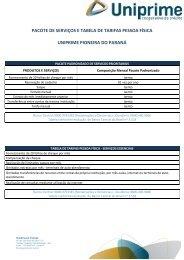Tarifas - Uniprimepioneirapr.com.br