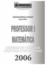 Exemplar da prova de Professor I - Matemática