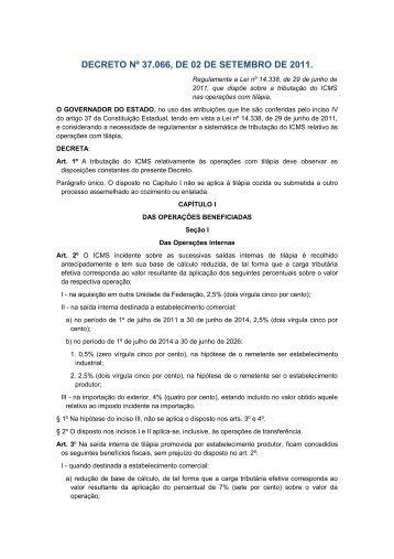DECRETO Nº 37.066, DE 02 DE SETEMBRO DE 2011. - Sefaz PE