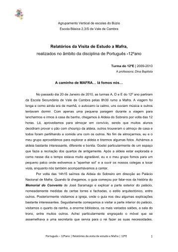 Relatório da Visita de Estudo a Mafra - Sebenta Digital