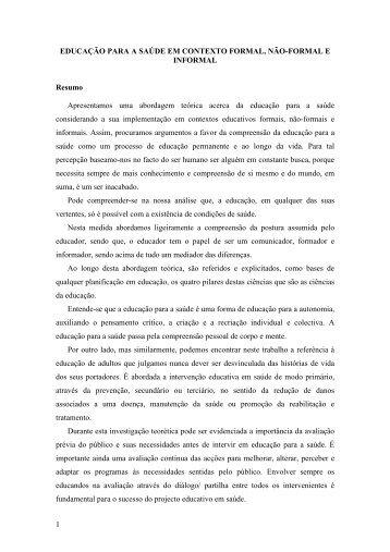 1 EDUCAÇÃO PARA A SAÚDE EM CONTEXTO FORMAL ... - Enciga