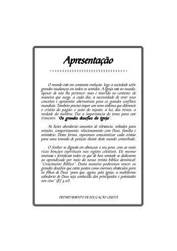 OS GRANDES DESAFIOS DA IGREJA.p65 - ADGO