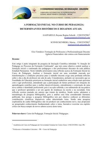A FORMAÇÃO INICIAL NO CURSO DE PEDAGOGIA ...