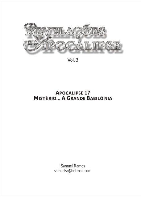 LIVRO REVELAÇÕES DO APOCALIPSE VOL 3