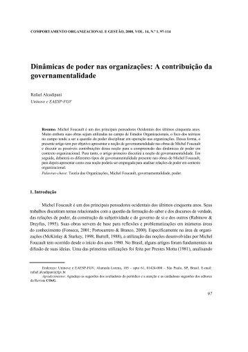 Dinâmicas de poder nas organizações: A contribuição da ... - SciELO
