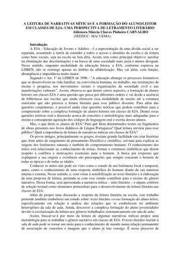 A LEITURA DE NARRATIVAS MÍTICAS EA FORMAÇÃO DO ALUNO ...