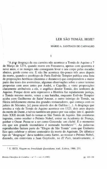 LER SÃO TOMÁS, HOJE? - Universidade de Coimbra