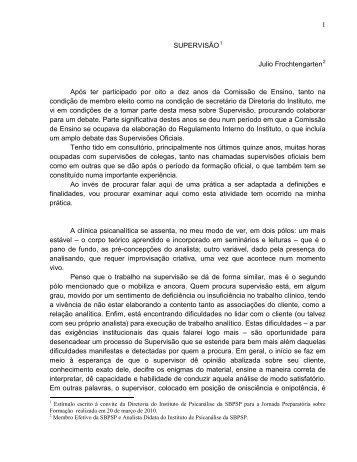 MESA REDONDA – SUPERVISÃO - sbpsp