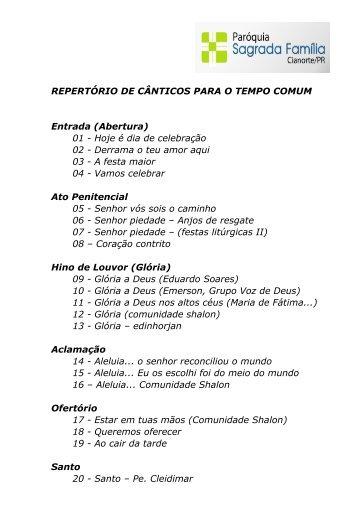 Letra das Músicas (pdf) - Paróquia Sagrada Família