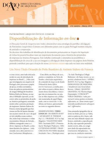 Boletim DGARQ nº 12 - Direção-Geral de Arquivos