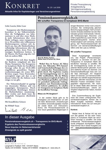 Pensionskassenvergleich.ch - WH&P Weibel, Hess & Partner AG