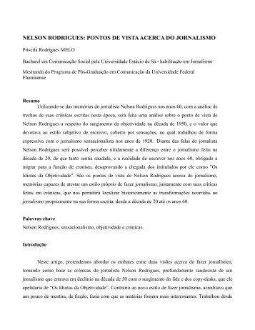 nelson rodrigues: pontos de vista acerca do jornalismo - ufrgs