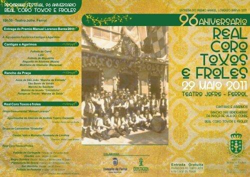 Programa Festival 96 Aniversario Toxos e Froles