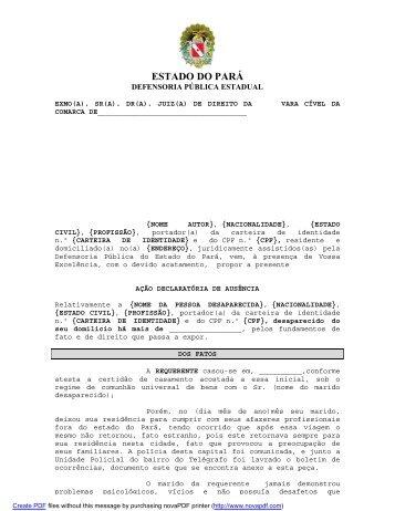 Declaratória de ausência - Defensoria Pública do estado do Pará