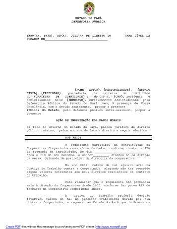 Indenização dano moral - Defensoria Pública do estado do Pará ...