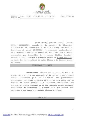 Alvará Judicial - Defensoria Pública do estado do Pará