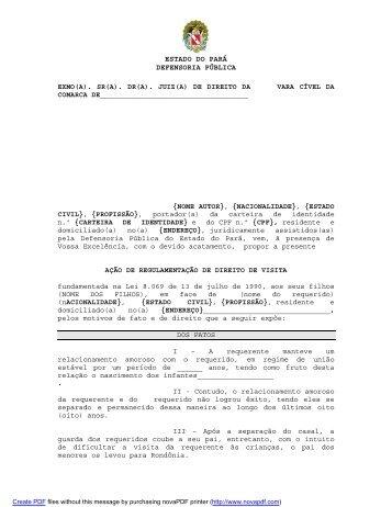 Regulamentação direito de Visita - Defensoria Pública do estado do ...
