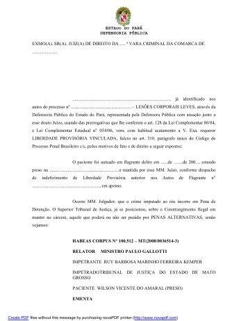 ESTADO DO PARÁ DEFENSORIA PÚBLICA EXMO(A). SR(A). JUIZ ...