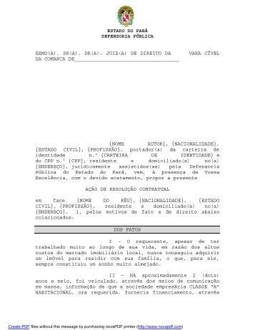 Resolução Contratual - Defensoria Pública do estado do Pará