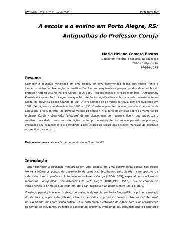 A escola e o ensino em Porto Alegre, RS: Antigualhas ... - Unirevista