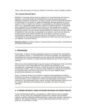 Artigo - Reconhecimento da firma do tabelião ... - Recivil
