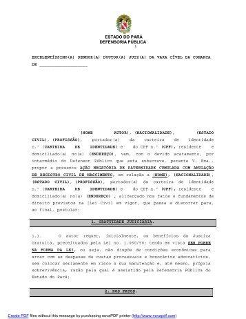 Negatória de paternidade - Defensoria Pública do estado do Pará