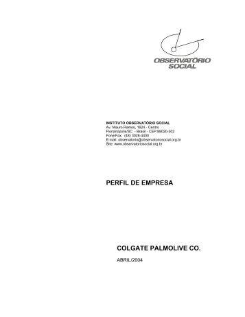 perfil de empresa colgate palmolive co. - Instituto Observatório Social