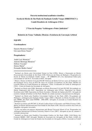 Validade, Eficácia e Existência da Convenção Arbitral - CBAr