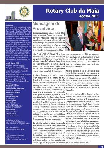 Boletim de Agosto 2011 - Rotary em Portugal