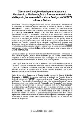 Contas Depósitos e Produtos e Serviços Pessoa Física - Sicredi