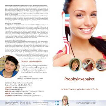 Prophylaxepaket - Zahnspangen