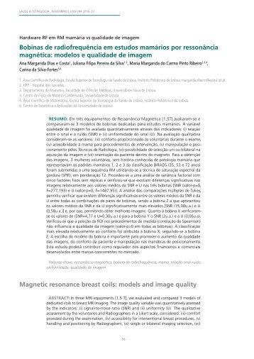 Bobinas de radiofrequência em estudos mamários por ressonância